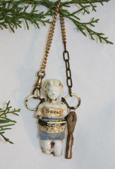 SWEET Frozen Charlotte Porcelain DOLL with by jeanettejanson,