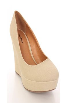 Beige Faux Leather Close Toe Platform Wedges @ Amiclubwear