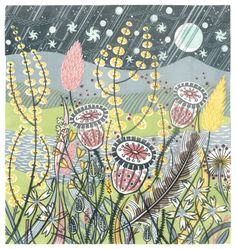 line art illustrator Seasons Song, Angie Lewin, Watercolor Projects, Guache, Linocut Prints, Textile Art, Creative Art, Line Art, Printmaking