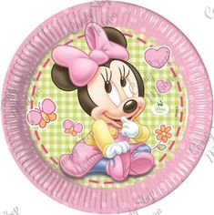 Baby Minnie Busta 8pz. Baby Mickey Mouse, Minnie Mouse 1st Birthday, Mickey Y Minnie, Minnie Mouse Party, 1st Birthday Party Supplies, 1st Birthday Themes, 1st Birthday Girls, 1st Birthday Parties, Happy Birthday