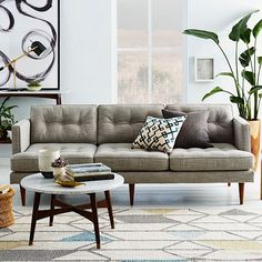 "Peggy Mid-Century 64.5"" Sofa, Heathered Crosshatch, Feather Gray"