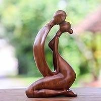 Wood statuette, 'The Kiss I' - Unique Romantic Wood Sculpture from Indonesia