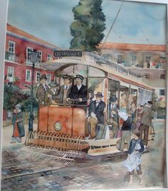 Old tram in old Lisbon, watercolour by Vanessa Azevedo