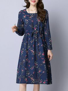 Specification: Sleeve Length:Long Sleeve Neckline:O-neck Color:Gray,Navy,White Size:M,L,XL,XXL Style:Casual,Loose Dress Length:Knee Pattern:Print Material:Cotton,Linen Season:Summer,Autumn Package included: 1* Dress
