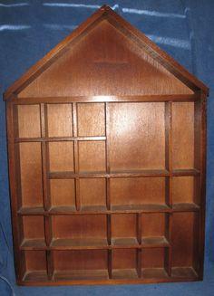 Vtg WOOD House Shape SHADOW BOX Wall Display MINIATURES Curio SHELF 22 Cubby #Cottage