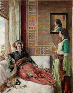 "peinture orientaliste UK : John Frederick Lewis, ""Harem life in Constantinople"", 1857 Jean Leon, Empire Ottoman, Art Ancien, Academic Art, Pre Raphaelite, Oil Painting Reproductions, Arabian Nights, Color Stories, Renoir"