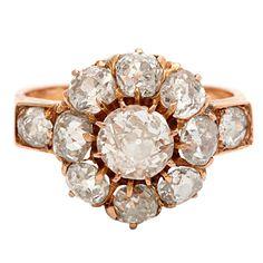 ab2e492a8531 18kt rose gold european mine cut diamond ring Anillos