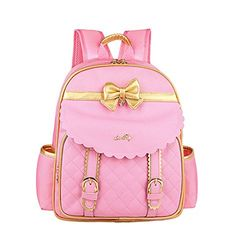 Girls Cute Bowknot Toddler Preschool Junior School backpack pink girly pastels gold