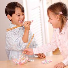 Steal my Heart game. Chopsticks & conversation hearts.