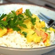 Karry, Potato Salad, Grains, Mango, Potatoes, Rice, Chicken, Ethnic Recipes, Pineapple