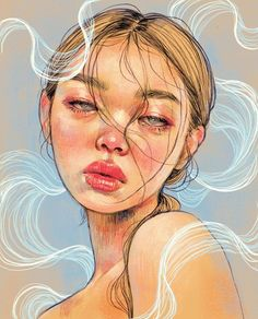 digitalart illustration portrait procreateapp procreate See it Portrait Vector, Portrait Art, Self Portrait Drawing, Artwork Fantasy, Art Sketches, Art Drawings, Posca Art, Arte Sketchbook, Wow Art