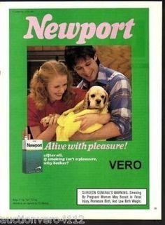 1989 magazine ad NEWPORT cigarettes advertisement print couple spaniel puppy