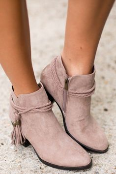 One Step Closer Taupe Ankle Boots at reddressboutique.com