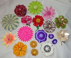 HUGE LOT Vintage Mod Retro Enamel LARGE Flower Power Pin Brooch Earrings Bouquet