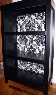 DIY :: Bookshelf. I love the idea of putting wallpaper on the back, you could also do this on the sides.