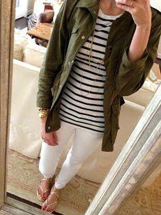 White jeans, stripe shirt, military jacket