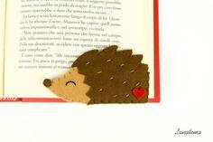 HEDGEHOG felt bookmark corner bookmark brown and red by Lanatema