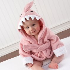 """Baby Aspen """"Let the Fin Begin"""" Pink Terry Shark Robe, Pink, months with Pink Shark Scrubbie and Two Washclothes So Cute Baby, Baby Kind, Cute Babies, Babies Pics, Baby Shower Gifts, Baby Gifts, Girl Gifts, Shower Baby, Newborn Gifts"""