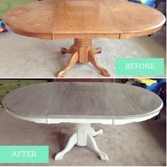 oak kitchen tables small lighting ideas cerused dining table makeover finished painted house 2 day farmhouse tutorial upcycling chalkpaint fixerupper joannagainesismyspiritanimal