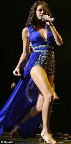 Selena Gomez performs in a custom Sherri Hill gown.