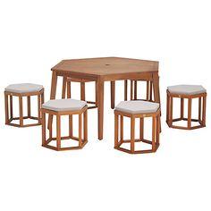 Buy John Lewis Venice 6-Seater Hexagonal Dining Table & Chairs Set, FSC-Certified (Eucalyptus), Natural Online at johnlewis.com