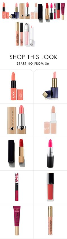 """""""top lip products for summer 2017"""" by azra-99 on Polyvore featuring beauty, Estée Lauder, Marc Jacobs, Rimmel, Chanel, MAC Cosmetics, Too Faced Cosmetics and NARS Cosmetics"""