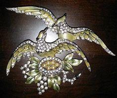 MB-MARCEL-BOUCHER-Rare-Huge-Metallic-Enamel-Pave-Lovebirds-on-the-Nest-Pin