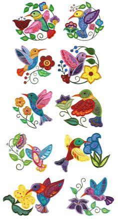 Jumbo Jacobean Hummingbirds Applique Machine Embroidery Designs by Designs by JuJu Machine Embroidery Patterns, Applique Patterns, Applique Designs, Beading Patterns, Quilt Patterns, Wool Applique, Applique Quilts, Bird Applique, Embroidery Applique