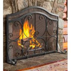 Plow & Hearth Single Panel Steel Fireplace Screen & Reviews | Wayfair Fireplace Screens With Doors, Fireplace Screens, Hearth, Wrought Iron, Fireplace Cover, Fireplace Accessories, Fireplace Doors, Fireplace Shelves, Fireplace Makeover