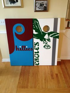 philadelphia eagles corn hole board | logos. Philadelphia Phillies and Philadelphia Eagles cornhole boards ...