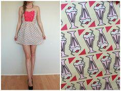 Dress women pattern mini  short M midium pink  by Rompersshop