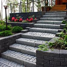 3graniittikiviraput sa Stepping Stones, Outdoor Gardens, Concrete, Brick, Sidewalk, Home And Garden, Outdoor Decor, Plants, House