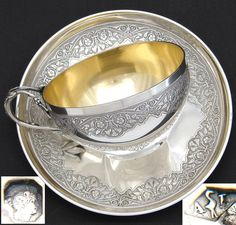 Gorgeous Antique French Sterling Silver Chocolate, Coffee or Tea Cup & Saucer, Ornate