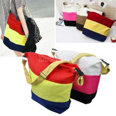 Women's Stripe Canvas Bag Shoulder Handbag Messenger Bag