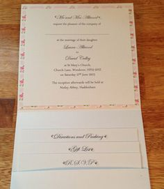 Handmade Wedding Invitation Pocketfold Cath Kidston, Shabby Chic, Flowers, Vintage - Any Colour