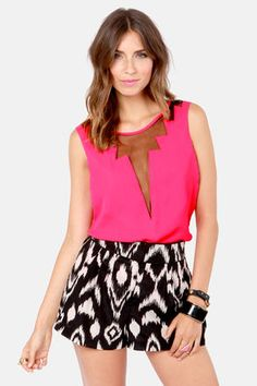 Cuts and Bolts Fuchsia Pink Top