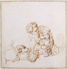 Rembrandt van Rijn, A woman comforting a child frightened by a dog, c. 1636. 10.3 x 10.2 cm. Collection Frits Lugt, Institut Néerlandais, Paris