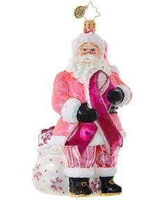 Christopher Radko Breast Cancer Santa Christmas Ornament