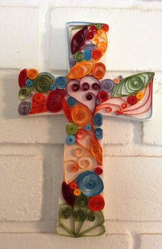 "7"" paper quilled cross"