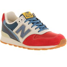 New Balance Wr996 (825 ARS) ❤ liked on Polyvore featuring shoes, sneakers, shoes - sneakers, trainers, hers trainers, red blue white, red trainers, red shoes, genuine leather shoes and lightweight sneakers