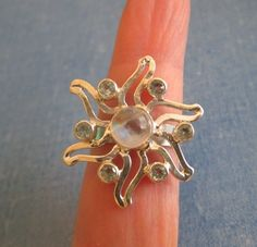 RING  - MOONSTONE - Blue Topaz - FLOWER - Snowflake -  925 - Sterling Silver  - size 8   moonstone390 by MOONCHILD111 on Etsy