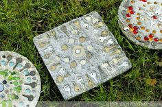 steampunk stepping stones, concrete masonry