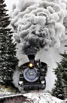A steam engine moving down the train track.  Great photo!