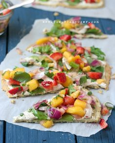 Herbed Crispy Flat Bread W/Chicken, Arugula & Mango/Strawberry Salsa   (Grain/Dairy Free)