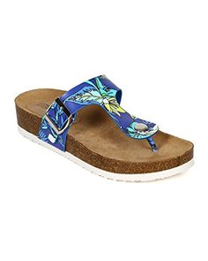Breckelles CD53 Leatherette Floral TStrap Slip On Thong Footbed Sandal  Blue Size 90 ** Read more reviews of the product by visiting the link on the image.
