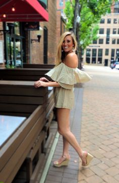 dancin in the street! summer street style in an off the shoulder romper!