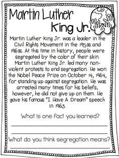 Free Dr Martin Luther King Jr Resources For Kids  Holidays  Have Students Practice Their Reading Comprehension Skills Along With  Learning About Martin Luther King Jr Religion And Science Essay also Topics For Synthesis Essay  College Writing Helper