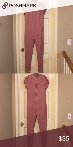 Suede Pale Pink 1 Piece Jumpsuit Plus Size ☝️ Piece. Zips up in back but may wear zipper in Front to crate sexier look, wear with a long kimono, blazer or shirt tied around waist. Will look excellent with thigh high boots. 👢 Pants Jumpsuits & Rompers