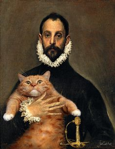 El Greco, The Nobleman with his Cat on his Chest, by Fat Cat Art Fat Cats, Cats And Kittens, Kitty Cats, Crazy Cat Lady, Crazy Cats, I Love Cats, Cool Cats, Regard Animal, Gatos Cool
