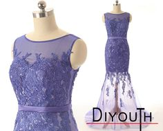 DIYouth.com Custom Made O Neck See Through Tulle V Back Purple Mermaid Lace Prom Dresses,Mermaid Prom Dress Elegant Custom Made O Neck See Through Tulle V Back Purple Mermaid Lace Prom Dresses 2015 Evening Dresses